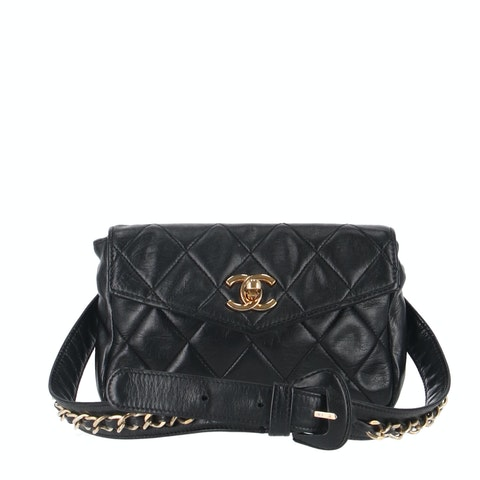 Black Medium Lambskin Waist Bag