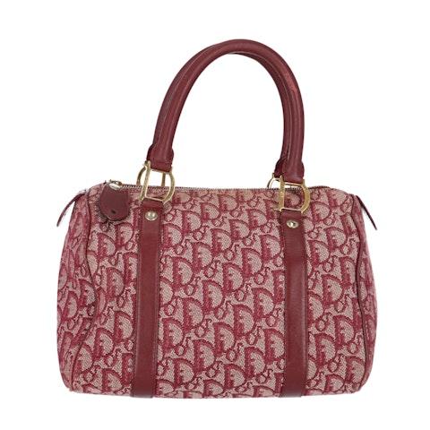 Dior Red Jacquard Canvas Bowling Bag