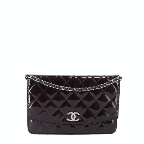 Black Patent Leather Wallet on Chain
