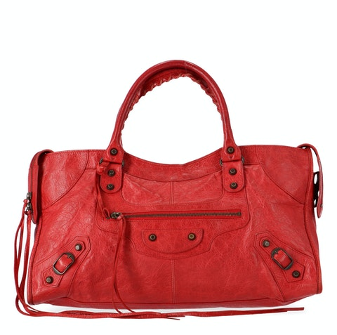 Balenciaga Red Lambskin Part Time
