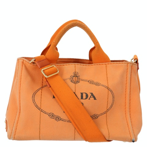 Prada Orange Printed Canvas Tote