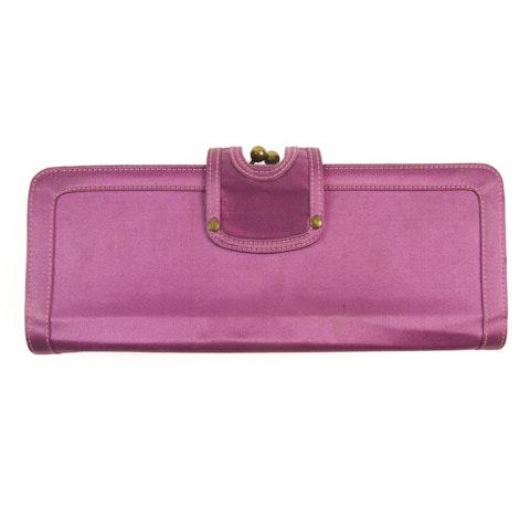 Purple satin Frame Clutch Handbag Pochette Evening bag w. Chain