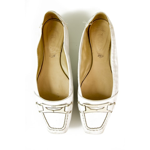 Gommino White Leather Ballerinas Flat Moccasins Square toe Shoes