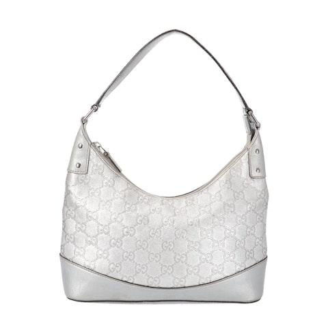 Gucci Silver Diamante Canvas Shoulder Bag