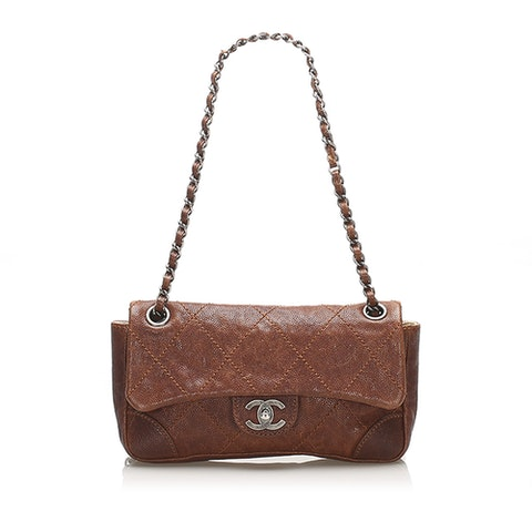 Caviar Leather Wild Stitch Single Flap