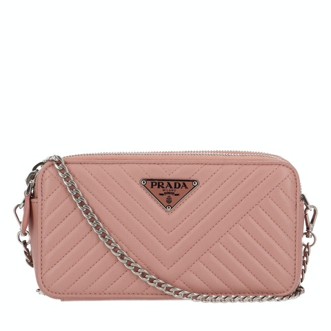 Pink Quilted Leather Mini Crossbody Bag