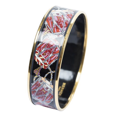 Enamel Bangle MM in Pink/Black/Orange Stainless Steel without Nickle