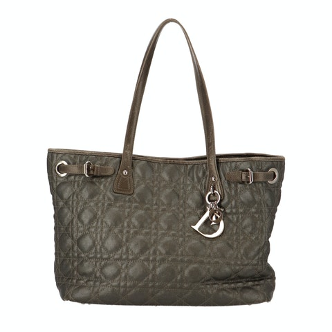 Grey Oblique Coated Canvas Tote
