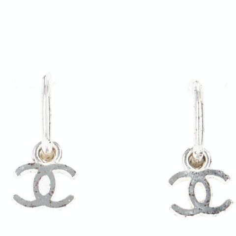 Silver-Toned Small 'CC' Logo Earrings