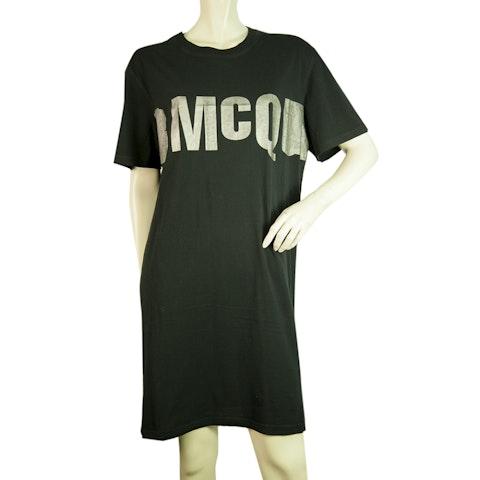 Black Casual Short Sleeve T-Shirt Knee Length Dress
