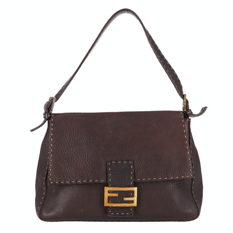 Brown Leather Baguette Mamma