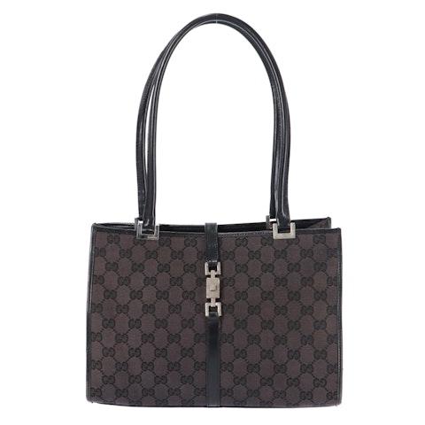 Gucci Black Diamante Canvas Shoulder Bag