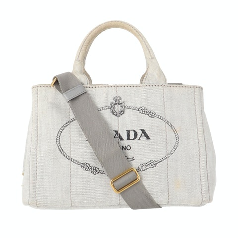 Grey Wash Printed Denim Tote