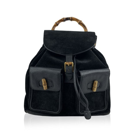 Black Suede and Leather Bamboo Backpack