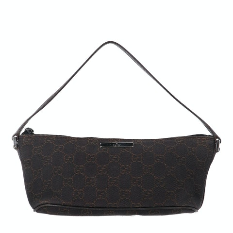 Gucci Brown Diamante Canvas Boat Pochette