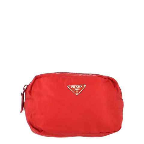 Red Nylon Cosmetic Pouch