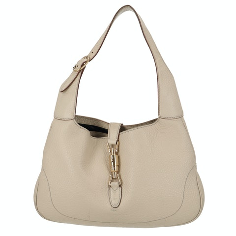 Beige Calfskin Leather Jackie