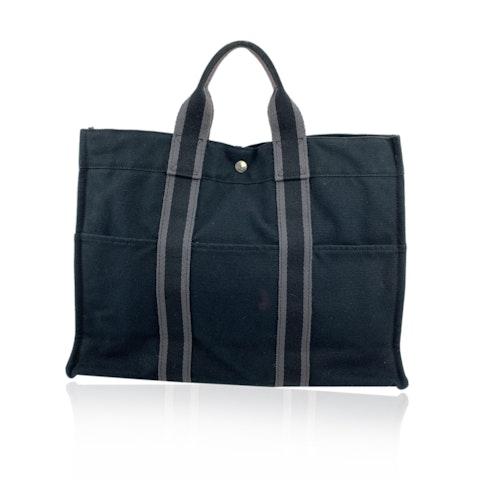 Hermes Paris Black Gray Stripes Cotton Fourre Tout MM Tote Bag