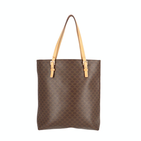 Brown Macadam Coated Canvas Tote