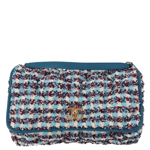 Blue Tweed Bubble Single Flap Bag