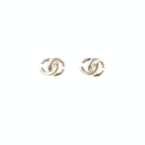 Silver-Toned Medium 'CC' Logo Earrings