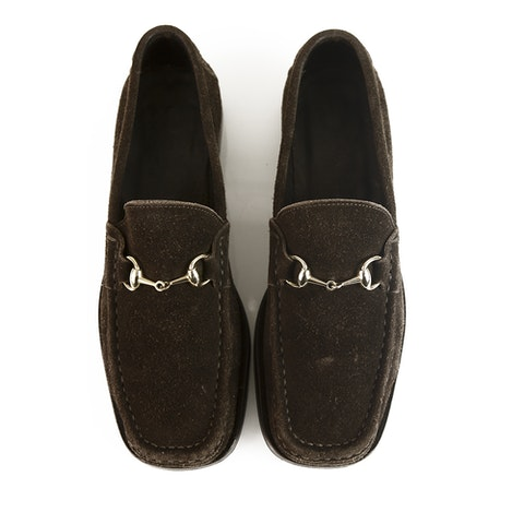 GUCCI dark brown suede leather moccasins loafers flat shoes 35.5 C