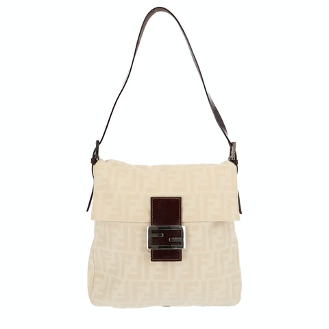 Beige Zucca Canvas Shoulder Bag