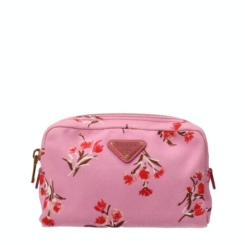 Pink Canvas Cosmetic Pouch