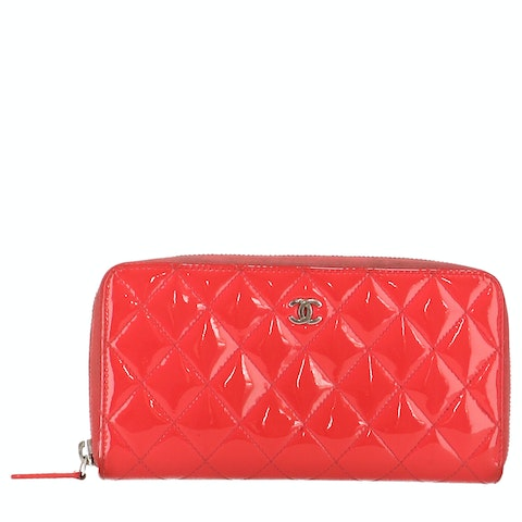 Pink Patent Leather Long Zipped Wallet