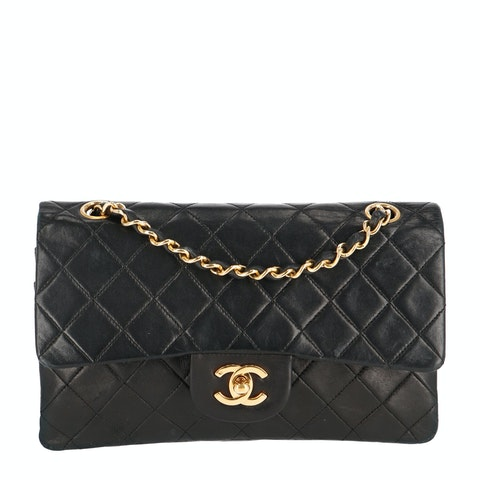 Black Small Calfskin Classic Double Flap Bag