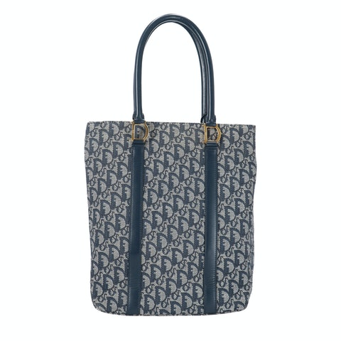 Blue Jacquard Canvas 'D' Tote