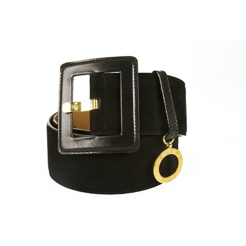 Celine Womens Black Suede Leather Belt Square Buckle Gold Tone Charm