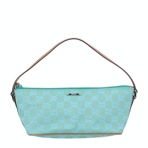 Gucci Blue Diamante Canvas Boat Pochette