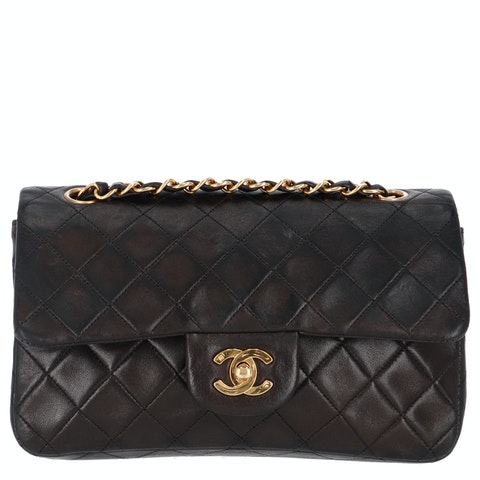 Brown Small Lambskin Classic Double Flap Bag