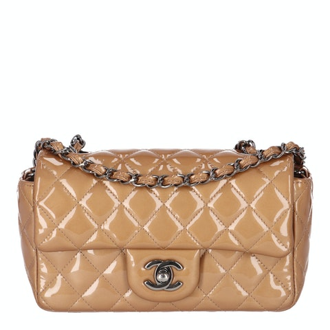 Chanel Bronze Small Patent Classic Single Flap Bag