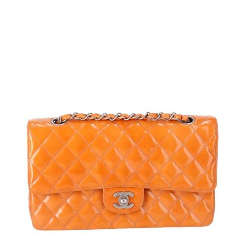 Orange Medium Patent Classic Double Flap Bag