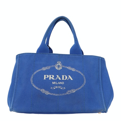 Prada Blue Printed Canvas Tote