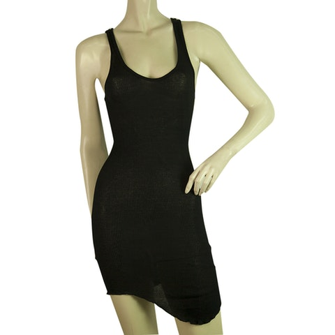Isabel Marant Etoile Black Ribbed Bodycon Mini Sleeveless Tank Cotton Dress sz M