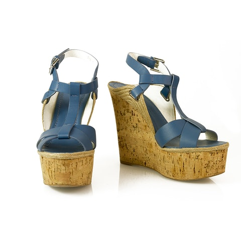 Fimesa Blue Leather Cork Wedge Heel Sandal Platform