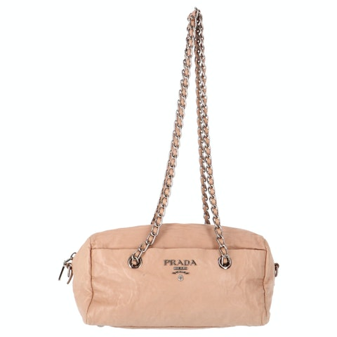 Pink Calfskin Leather Shoulder Bag