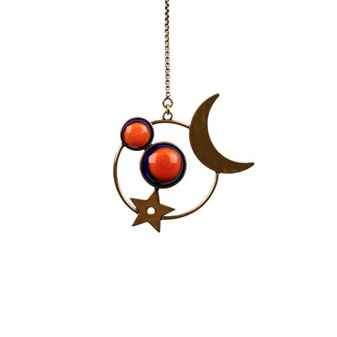 Moon and coral long   in Blue/Orange Stainless Steel
