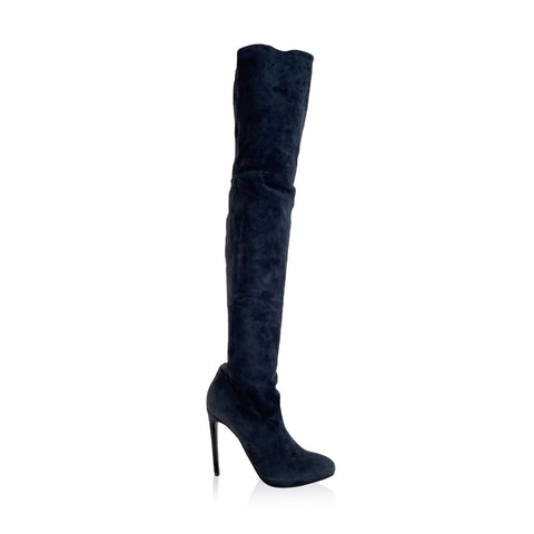 Flavio Castellani Blue Suede Over The Knee Heeled Boots Size 39