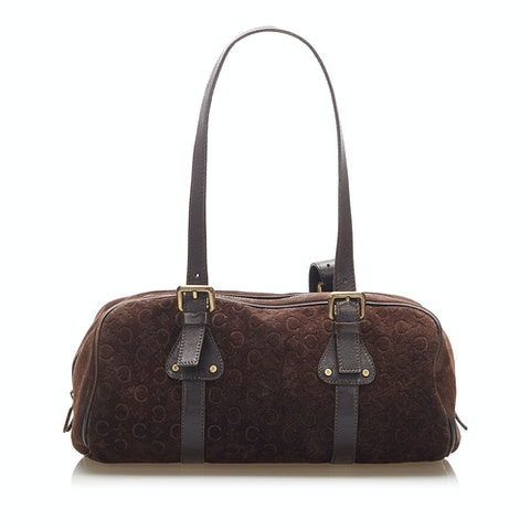 C Macadam Suede Shoulder Bag
