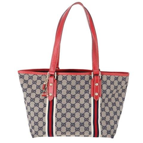 Gucci Red Diamante Canvas Shoulder Bag