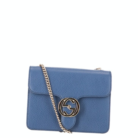 Blue Leather Interlocking Crossbody Bag
