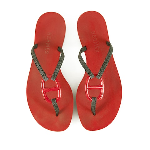 Hermes Red Black Kala Nera  Charm Sandals
