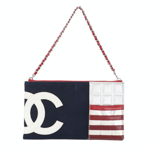 Chanel Navy Canvas and Leather 'CC' Shoulder Bag