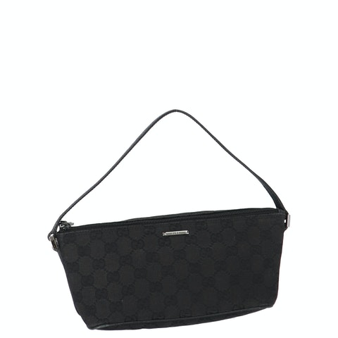 Gucci Black Diamante Canvas Boat Pochette