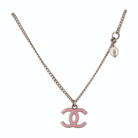 Silver-Toned Small 'CC' Beveled Necklace