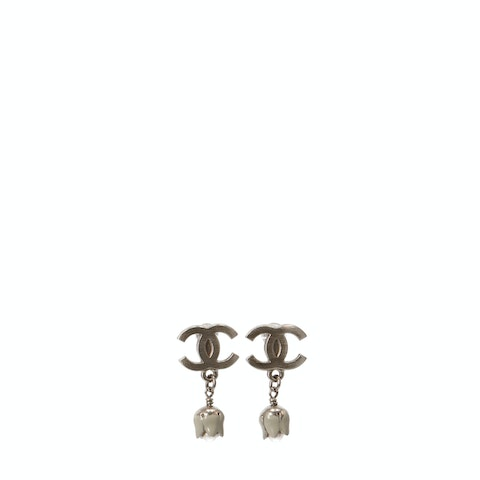 Silver-Toned 'CC' Logo Earrings